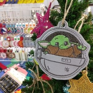 Star Wars Holiday - Small green alien baby in pod inspired  Ornament